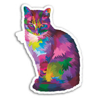 2 x 10cm Neon Abstract Cat Vinyl Stickers - Kitten Sticker Laptop Luggage #17461