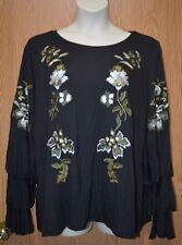Womens Embroidered Black INC International Long Flared Sleeve Size 1X NWT NEW