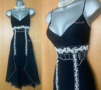 Karen Millen UK 10 Silk Black Beaded Charleston Downton Flapper Cocktail Dress