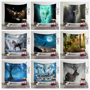 Fantasy Lonely Animal Wolf Tapestry Wall Art Hanging Bedroom Livingroom Decor