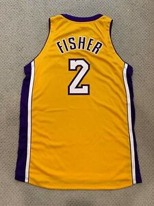 Nike Derek Fisher Lakers Home Gold Procut / Team Issued Authentic Jersey 50+4