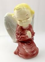 Vintage Ceramic Angel Vase Praying Cherub Pink Planter Wall Pocket Royal Copley