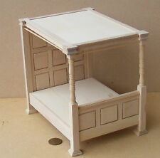 1:12 Scale Panelled 4 Poster Natural Finish Bed Dolls House Miniature Accessory
