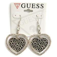 Guess Earrings Silver Heart Logo G Crystal Dangle Gift Jewelry