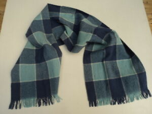 HAMILTON 100% WOOL SCARF BLUE CHECK UNISEX MADE IN ENGLAND