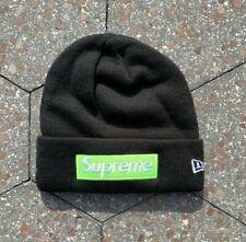 Supreme x New Era Lime Green on Black Box Logo FW17 Beanie