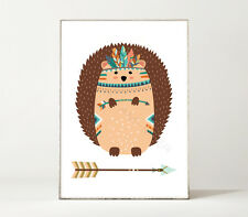 KLEINER IGEL / Indianer / Boho / Pfeil / Spielecke / Kind / Kunstdruck / Poster