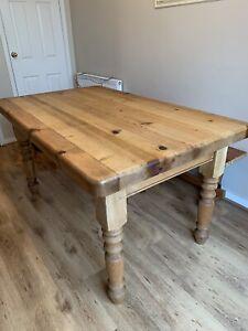 Pine Farmhouse Kitchen Table Vintage