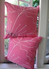 1 Cushion Cover: PEONY Pink Flower embroidered 100% cotton, decorative pillow