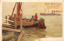 RED STAR SHIP LINE, CASSIERS IMAGE #H-1, 2 FISHERMEN IN BOAT WATCH SHIP, c 1902