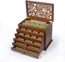 Real Wood/Wooden Jewelry Box Case Brown 5 slide out drawers, 35 compartments
