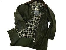 Vintage Men's Barbour Border Green Wax Cotton Jacket Coat - C44 112cм L/XL