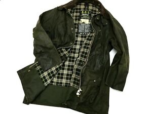 Vintage Men's Barbour Border Green Wax Cotton Jacket Coat - C44 112cм L/XL