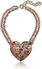 Betsey Johnson 244115 Womens Gold and Pink Chain Graffiti Love Pendant Necklace