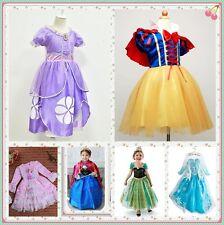 Disney Princesa Sofia Frozen Anna Lindo Vestido Kids Parte Cos Disfraz Regalo