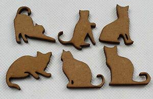Card making CAT shapes laser cut mdf hobby crafting cool project 18 pack, 30mm
