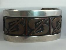 Cuff Bracelet MidCentury Modernist Frank Patania Sr Sterling Copper Mixed Metals