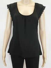 JAG Ladies Black Sleeveless Casual Evening Lace Details Tank Top Singlet Size M