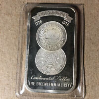 1976 Madison Mint, Philadelphia, The Bicentennial City 1 Oz .999 Silver Art Bar