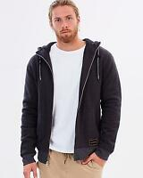 Quiksilver NOBLE CUZ HOODIE Mens Sherpa Lined Hooded Jumper Jacket Tarmac Size S