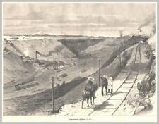 """Bergbau-Tagebau-Salpeter """"Salpeterwerke in Chile"""" Original Holzstich von 1894"""