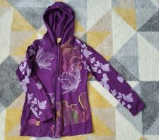 Womens printed purple hoodie butterfly and flower design size S