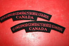GOVERNOR GENERAL'S HORSE GUARDS CANADA CANADIAN  CLOTH SHOULDER TITLE PAIR