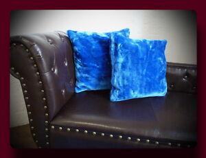Kissen Kissenhülle Dekokissen im Glanz - Design Farbe blau / dunkelblau