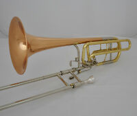 Professional Double Rotor Bass Trombone Bb/F/Eb&Bb/F/D/Gb Rose Brass Bell New