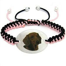 Dachshund Dog Mother Of Pearl Natural Shell Adjustable Knot Bracelet BS140