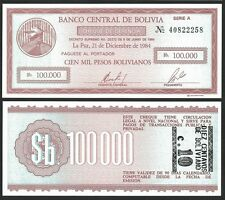 Bolivia 10 CENTAVOS on 100000 Pesos ND 1987 P 197 UNC