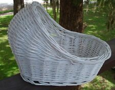 White Wicker Bassinet for Baby Shower Decoration Centerpiece