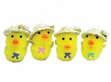 1 pack of 4 Easter chicks with bow & straw hat (each 5cm tall)