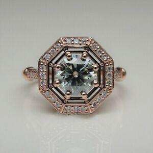 1.20 CT Round Cut Grey Moissanite Vintage Art Deco 10k Rose Gold Wedding Ring