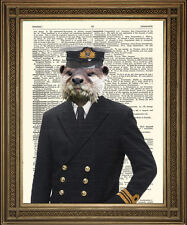 ADMIRAL OTTER: Fun Naval Animal Vintage Antique Dictionary Navy Art Print, 10x8""