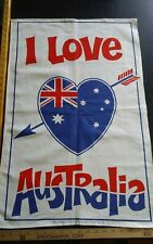 Vtg cotton linen tea towel I Love Australia Flag Heart Nuvolorvue