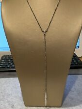 """""""LUCKY BRAND"""" SILVER TONE LINK CHAIN DANGLE BAR PENDANT NECKLACE"""
