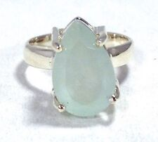 aquamarine pear ring, solid Sterling Silver, uk size L 1/2, natural, new. UK