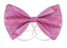 PINK GLITTER SHIMMER ADJUSTABLE BOW TIE DICKIE DICKY FANCY DRESS DANCE PARTY