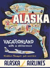 Alaska Alaskan Air Vintage United States  America Travel Advertisement Poster