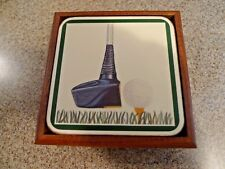 Vintage Pimpernel Coasters Golf Club Cork Back England - SET OF 6 WITH WOOD TRAY