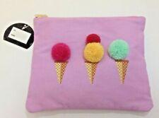 New Target Ice Cream Cones  Make-Up Zip Bag Purple 9X7 Travel Cute Applique