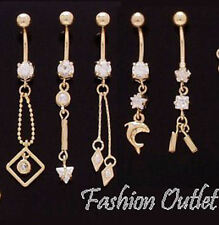Belly Button Ring Navel Dangle 14G-3/8 14K Gold Plated Cz Chain- Arrow-Bars-