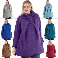 Womens Italian chunky knit cocoon Jacket Lagenlook Coatigan Buttons Funnel Neck