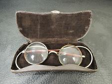 Antique Doctors Physician Wire Temple RX Lenses Eyeglasses Spectacles w/Box Case