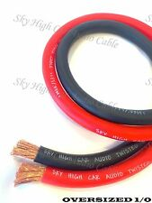 10 ft 1/0 Gauge AWG 5' BLACK & 5' RED Oversized Power Ground Wire Sky High Car