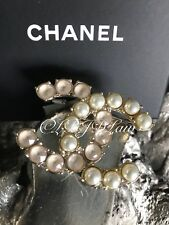 NWT CHANEL Strass Pearl Large CC Brooch Gold Ivory Pearly Crystal 2017 NEW 17B