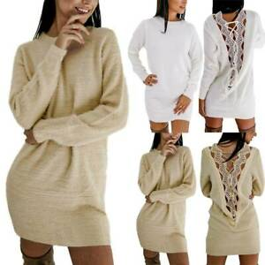 Womens Winter Backless Long Sleeve Top Pullover Ladies Sweater Jumper Mini Dress
