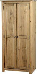 Panama 2 Door Wardrobe with Hanging Rail and Shelf in Natural Wax