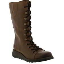 Fly London Ster para mujer cuña de cuero marrón con Cremallera De Combate Militar Botas Talla 4-8